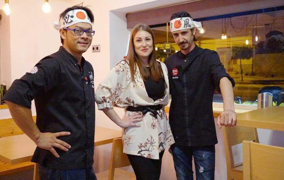 equipo del taller de sushi